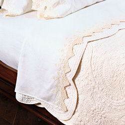 French lace flat sheet ecru queen - Bring Paris to your bedroom with this French Lace Sheet set.   These sheets are so pretty, you'll never want to make your bed!