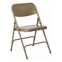 KFI Seating - All Steel Folding Chair in Beige - Set of 4 ( - Color: BeigeSet of 4 folding chair. All steel. Powder-coated Beige. Double hinged. 0.88 in. Round. 18mm Gauge. Double riveted cross-braces. Non-marring floor glides. 18.5 in. W x 19.75 in. D x 30 in. H