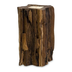 "IMAX - Large Teakwood Candle - Natural teak wood stump candle Item Dimensions: (12""h x 7.5""w x 7.5"")"