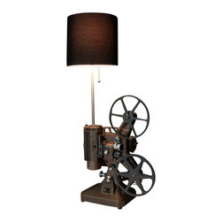 Early Brown K108 Movie Projector Table Lamp, Brown Shade - Vintage Brown Keystone K-108 8MM projector converted into a unique table lamp.