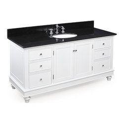 Kitchen Bath Collection - Bella 60-in Single Sink Bath Vanity (Black/White) - This bathroom vanity set by Kitchen Bath Collection includes a white cabinet with soft close drawers, black granite countertop, single undermount ceramic sink, pop-up drain, and P-trap. Order now and we will include the pictured three-hole faucet and a matching backsplash as a free gift! All vanities come fully assembled by the manufacturer, with countertop & sink pre-installed.