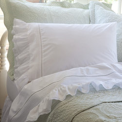 Taylor Linens - Prairie Crochet Eastern King Sheet Set - Pintucked, hemstitched and ruffled like an old-fashioned petticoat skirt, this sheet set has more vintage country charm than a Louisa May Alcott book. Delicate crochet lace edging gives it a final, ladylike touch.