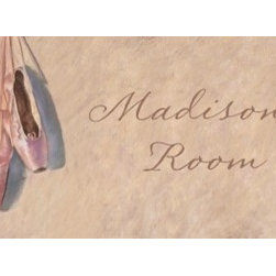 Baby Chick Designs - Ballerina Slippers Personalized Room Sign and Door Sign - Ballerina Slippers Personalized Room or Door Sign. Giclee canvas reproduction of an original pastel. Add your child's name for free!