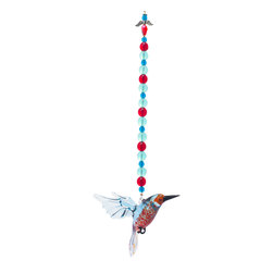 Spirit Pieces - Lampwork Flying Kingfisher with Blue and Red Crystal Beading Garden Ornament - A lovely addition to any garden, this flying Kingfisher figurine comes wiith Red, Blue and Dark Blue Crystal beading and is topped off with a crystal angel.  Hang off of a bird house, tree, bird feeder, awning or window.