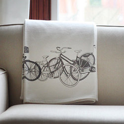 Organic Cotton Blanket, Gray Bikes by Jenna Rose - I love blankets in the winter. This one is beautifully hand printed onto organic flannel.