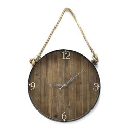 Vertuu Design - Norasen - Rustic charm and beach style accents merge in the Norasen Wall Clock to create a dynamic look. Featuring vertical wood panels and silver three-dimensional numbers, this clock has a simple, natural feel. A braided rope handle allows for easy hanging. Display it in a kitchen or living room for an easy and stylish way to tell time.