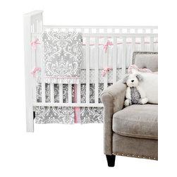 New Arrivals Inc. - Stella Gray Crib Bedding Set 4-Piece by New Arrivals Inc. - The Stella Gray Crib Bedding Set by New Arrivals Inc, along with the Stella Gray bedding accessories.
