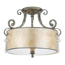 Quoizel - Kendra Semi-Flushmount by Quoizel - Sinewy, intricate scrollwork is just one of the details that make the Quoizel Kendra Semi-Flushmount the epitome of Old World style married with sleek modernity. The frame is finished in rich Mottled Silver, which melds seamlessly with the similarly mottled look of the Oyster Mica shade. Finally, a crystal drop accent adorns each of the three curvaceous arms.For more than 80 years, Quoizel (based in Charleston, SC) has dedicated itself to bringing timeless lighting designs into modern homes. By consciously avoiding design fads, consistently balancing form and function and using only the highest quality materials, Quoizel lighting designs do indeed stand the test of time.The Quoizel Kendra Semi-Flushmount is available with the following:Details:Oyster Mica shadeSteel frameMottled Silver finishIce crystal drop accentsRound ceiling canopyUL Listed for damp locationsLighting:Three 60 Watt 120 Volt Type A19 Medium Base Incandescent lamps (not included).Shipping:This item usually ships within 5-7 business days.