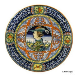 Artistica - Hand Made in Italy - Deruta: Large Renaissance Wall Plate Noblemen - Detura: