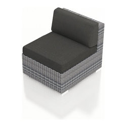 Harmonia Living - Urbana Modern Outdoor Sectional Middle, Weathered Stone Wicker, Charcoal Cushion - The Harmonia Living Urbana Modern Wicker Outdoor Sectional Middle Section with Gray Sunbrella cushions (SKU HL-URBNWS-MS-CC) is the perfect piece for expanding your own stylish Urbana modern patio sectional set. Covered in High-Density Polyethylene (HDPE) wicker, this sectional piece has fade-resistant color designed to withstand the elements. The outdoor wicker sectional piece is constructed with a sturdy, thick-gauged aluminum frame, protected with a powder coating for even greater corrosion resistance. The seats are also reinforced to provide support and prevent excessive wicker stretching from repeated use. Both seat and back cushions are included, with fade- and mildew-resistant Sunbrella fabric in Canvas Charcoal.