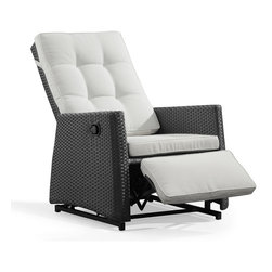 ZUO VIVA - Daytona Rocking Chair Espresso - The Daytona Rocking chair is strait to the point and was created with relaxation in mine. This recliner has glider rockers to ensure that you have tranquility in your life.. This chair is made out of a synthetic weave that has been UV treated to resist fading and cracking. The aluminum frame help prevent this chair from rusting in any weather conditions and the pad is made with a umbrella like fabric that is water resistant.