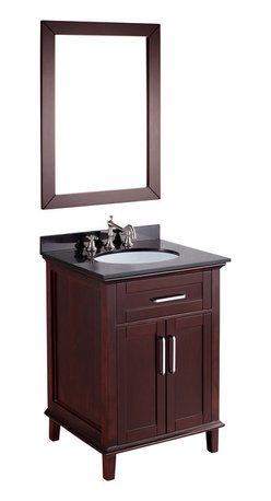 Bosconi - 26'' Bosconi SB-2203 Vanity Set - Unique styling and flowing lines merge to form a contemporary range of the Bosconi Contemporary Vanity collection. This is influenced by long established American design and crafted to perfection in Dark Espresso finish with complimenting Black Granite top and vertically mounted vanity mirror. Versatile features include a single cabinet spacious enough to store towels, toiletries and accessories.