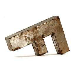 """Kathy Kuo Home - Industrial Rustic Metal Small Letter F 18""""H - Create a verbal statement!  Made from salvaged metal and distressed by hand for an imperfect, time-worn look."""