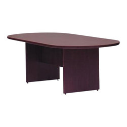 """Offices To Go - Offices to Go 10' Wood Racetrack Conference Table with Slab Base - Offices to Go - Conference Tables - SL12048RSAML - This 10' conference table is your perfect solution for your office with modern design details quality hardware and superior laminate finishes. The Racetrack Conference Table comes with an American Mahogany or American Cherry finish and can be combined with similar pieces to create your own customized office suite. Made from the Offices to Go """"Superior Laminate"""" desking system it is manufactured exclusively in a certified factory made in the USA and has been tested to ensure compliance with all applicable industry standards."""