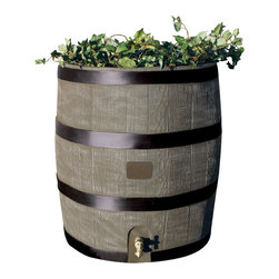 RTS Companies Inc - Round Rain Barrel With Planter, Deco Color - Embrace nature's solution to our emerging water Shortage-Collect rainwater! Our authentic oak barrel texture is molded into each barrel and will not fade, rot or risk insect infestation. the RTS home accents rain barrel has many unique