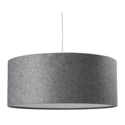 Short Drum Pendant, Gray Felt - I love how modern this gray felt drum pendant light is. It adds a nice block of contrast to an all white room.