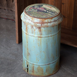 Vintage Metal Rubbish Bin - Rustic blue/gray metal trash can flips its lid with a touch of the lever foot pedal. Charming farm scene graces the top. A home and garden collection selected that bring happy memories of childhood past. Whether you are looking for period charm, a style of elegant restraint or just want to infuse a spirit of playfulness, you'll find it here.