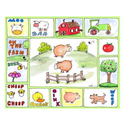 Oh How Cute Kids by Serena Bowman - All Around the Barnyard - Pigs, Ready To Hang Canvas Kid's Wall Decor, 24 X 30 - Every kid is unique and special in their own way so why shouldn't their wall decor be so as well! With our extensive selection of canvas wall art for kids, from princesses to spaceships and cowboys to travel girls, we'll help you find that perfect piece for your special one.  Or fill the entire room with our imaginative art, every canvas is part of a coordinating series, an easy way to provide a complete and unified look for any room.