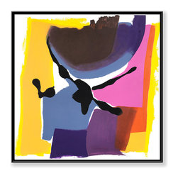 """CHC Art, Inc - Pirouette, 30""""x30"""", Hand Embellished Giclee - This is a playful composition of converging abstract shapes and overlapping layers. Its whimsical color palette brings a joyful aura to the piece.- Hand Embellished Giclee.- Black floater frame.- Ready to hang.- Frame adds 1.75"""" to each dimension.- Made in the USA."""