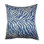 """The Pillow Collection - Helaine Zebra Print Pillow Blue - Our decor pillow is a gorgeous choice for your styling needs. This accent pillow features a striking zebra print in shades of blue and silver. Made with plush and soft material, this 18"""" pillow ensures long lasting quality and comfort. Offer a fresh and fun look to your living room, bedroom or lounge area with this toss pillow. Hidden zipper closure for easy cover removal.  Knife edge finish on all four sides.  Reversible pillow with the same fabric on the back side.  Spot cleaning suggested."""