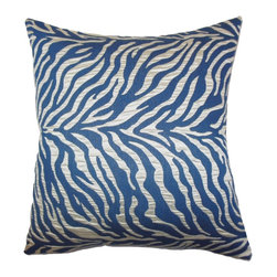 "The Pillow Collection - Helaine Zebra Print Pillow Blue 18"" x 18"" - Our decor pillow is a gorgeous choice for your styling needs. This accent pillow features a striking zebra print in shades of blue and silver. Made with plush and soft material, this 18"" pillow ensures long lasting quality and comfort. Offer a fresh and fun look to your living room, bedroom or lounge area with this toss pillow. Hidden zipper closure for easy cover removal.  Knife edge finish on all four sides.  Reversible pillow with the same fabric on the back side.  Spot cleaning suggested."