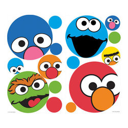 York Wallcoverings - Sesame Street Polka Dot Faces Wall Sticker Set 27pc Decals - Features: