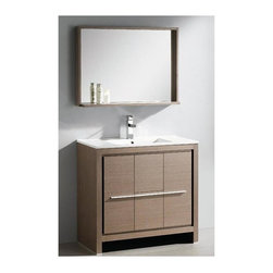 "Fresca - Allier Modern Bathroom Vanity w 29.5 in. Mirror (Bevera Chrome) - Choose Included Faucet: Bevera Chrome. P-trap, Faucet, Pop-Up Drain and Installation Hardware Included. Single Hole Faucet Mount (Faucet Shown In Picture May No Longer Be Available So Please Check Compatible Faucet List). With overflow. Sink Color: White. Finish: Gray Oak. Sink Dimensions: 19.38 in. x18.38 in. x5.75 in. . Mirror: 35.5 in. W x 25.25 in. H x 6 in. D. Materials: Plywood w/ Veneer, Ceramic Countertop/Sink with Overflow. Vanity: 35.38 in. W x 18.5 in. D x 33.5 in. HThe Fresca 36"" Allier is a sleek, modern free standing vanity with plenty of storage space. This model is accented nicely with a matching mirror with small shelf. Optional side cabinets are available."
