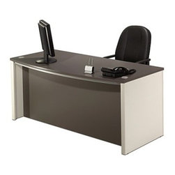 Bestar - Connexion Executive Desk-Slate/Sandstone - What We Like About This DeskIdeal for the smaller office with a computer this Connexion Executive Desk features cord management openings to organize your workspace. The one-inch thick work surface features a melamine finish that resists scratches burns and stains. Shock resistant PVC edge banding protects your furniture and desk alike while you move around in your chair. Use the optional four large slide-out drawers for catch-all storage. One drawer accommodates both letter and legal sized documents. One lock secures both bottom drawers for added security. The optional keyboard shelf with integrated pencil tray is deep enough to accommodate most laptops. About BestarEstablished in 1948 Bestar is a third-generation family business involved in the design manufacturing and distribution of a wide range of ready-to-assemble furniture and furniture components. Bestar's mission is to create produce and distribute mid- to high-end ready-to-assemble furniture for home offices small commercial offices and home entertainment. Bestar offers a combination of price quality and service that exceeds the expectations of customers and consumers.