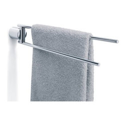 Duo Towel & Magazine Rack - The Duo Towel & Magazine Rack by Blomus does double duty as a towel rack or a magazine holder. Decorating a bathroom or maybe a hair salon? Then let it do both at once! This high-quality rack mounts to the wall to save on valuable floor space and features two slim bars that attach to the mount and swivel for easy access from any angle. Simply drape towels or magazines over the bars for safe convenient storage that looks totally clean and modern. The rack is made from stainless steel with a polished reflective finish. Measures 16L x 2.75W x 2.75H inches. About BlomusBased in Sundern Germany Blomus is an international designer of functional and decorative stainless steel products for the home interior and exterior. Their aim is to harmonize form and function to create special products for everyday life such as kitchen accessories wellness elements patio accents and decorative items. Their designs soften the cold and sterile edge of stainless steel by combining it with other materials. For Blomus design is not an end in itself but an important part of everyday life.