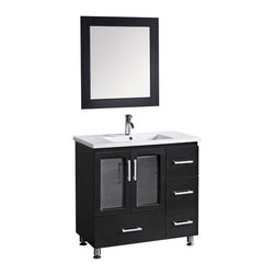 "Design Element - Stanton 36"" Single Sink Vanity Set, Drop in Sink - The Stanton 36"" vanity is elegantly constructed of quality woods. The porcelain counter top and seamlessly integrated sink design contrast with the rich features of the espresso cabinetry to bring a crisp and contemporary look to any bathroom. This stylish design includes four drawers and a soft-closing double-door cabinet, all adorned with satin nickel hardware. Included is a matching framed mirror. The Stanton Bathroom Vanity is designed as a centerpiece to awe and inspire the eye without sacrificing quality, functionality, or durability."