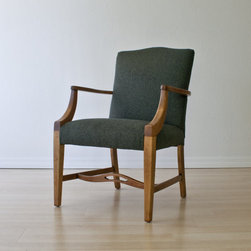 Handsome Library Chair - This occasional chair was originally made by the Phoenix Chair Company out of Sheboygan, Wisconsin. The exact date is not known, but the company went out of business in the 30's, so it was likely produced somewhere between 1900-1930.
