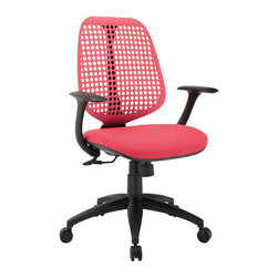 "Modway - Reverb Office Chair in Red - Reverb is a flexible and responsive chair built for years of ergonomic comfort. Designed to offer support over both your lower and upper back regions, the adaptable mesh back and waterfall seat design help keep you alert, while effectively distributing the weight of your body. The pneumatic lever and tension control knob fine-tune the chair's height and tilt to personalize Reverb, while the armrests keep your upper-body is well-positioned. Although mesh designs have increased in popularity in recent years, Reverb offers a choice that is both stylish and works admirably well to protect your body from daily stresses. The nylon base comes equipped with five dual-wheeled hooded casters for easy gliding over carpeted surfaces, and the molded foam seat pan comes generously padded for extra comfort. Set Includes: One - Reverb Office Chair. Flexible plastic mesh back; Molded padded foam seat; Pneumatic height adjustment; Tilt tension control; Five dual-caster wheels; Sturdy hooded nylon base; Chair Weight Capacity - 330 lbs.; Overall Product Dimensions: 29.5""L x 25.5""W x 40.5 - 44""H; Seat Dimensions: 21""L x 18.5""W x 19.5 -23.5""H; Base Dimensions: 21""L x 21""W; Armrest Height: 26-30""H; Backrest Height: 19.5""H"