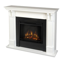 Real Flame - Real Flame Ashley Electric Fireplace in White Finish - Real Flame - Electric Fireplaces - 7100EW - Best selling item! Handsome pillars with curved supports create an understated elegance in any room. Available in Mahogany Oak White and Blackwash. The Vivid Flame Electric Firebox plugs into any standard outlet for convenient set up. The features include remote control programmable thermostat timer function brightness settings and ultra bright Vivid Flame LED technology.