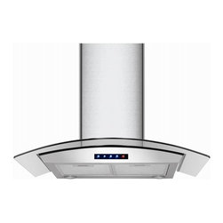 Kitchen Bath Collection - 30-in Stainless Steel Wall Hood with Arched Glass by Kitchen Bath Collection - The 30-inch wall-mounted stainless steel range hood with arched tempered glass by Kitchen Bath Collection features a two-piece adjustable chimney with sleek curved edges, no visible welded seam on any of the three faces of the chimney, touch screen control panel, two LED lights, and three speed settings. It includes a flexible aluminum duct for easy attachment to the wall or ceiling, two aluminum micro-cell grease filters (dishwasher friendly), a UL-certified motor, and charcoal carbon filters for optional vent-less installation (no additional kit required). Made from high quality 304 stainless steel.