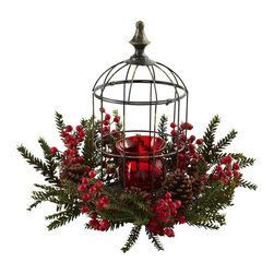"Nearly Natural - Pine Berry Birdhouse Candelabrum - Birdhouse style exterior. Will stay looking fresh for decades. Red, green and black color. Vase: 4 in. Dia. x 4.5 in. H. Overall: 19.5 in. Dia. x 15 in. HHere's a holiday decoration that is sure to light anyone's fire! This beautiful, elegant candelabrum is easily one of the most striking pieces you can display. With a deep red candelabrum, ""birdhouse""-style housing, surrounded by pine berried, sprigs, and pinecones, it's a festive delight that will stay looking fresh for decades. Makes a perfect gift as well."