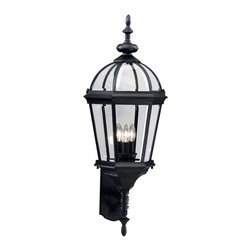 Kichler 3-Light Outdoor Fixture - Black Exterior - Three Light Outdoor Fixture. Utilizing classic design elements from colonial America, the Trenton collection offers timeless design for today's aesthetic. Our striking black finish helps recreate the look and feel of fixtures formed by blacksmiths hundreds of years ago. Skilled artisans re-create these handcrafted works of art from high quality cast aluminum with clear beveled glass panels to ensure the Trenton will last for years. If you're looking for a memorable fixture, this outdoor wall lantern is the perfect way to update your home's profile. Its three light design employs 60-watt bulbs for optimum lighting while the 33 high lantern is UL listed for wet locations.