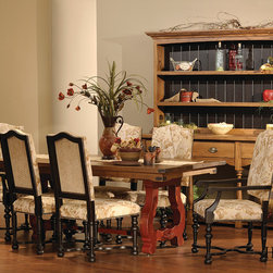 Homestead Furniture Dining Rooms - Luxembourg Dining Table. Give your guests the royal treatment with the ultimate in dining comfort. With luxurious detail, this collection makes a statement and becomes the focal point of any dining room. With dramatic curves, fine scrollwork and carving the Luxembourg Dining Collection makes every meal feel like a special occasion. http://homesteadfurnitureonline.com/dining-tables_luxembourgh.html
