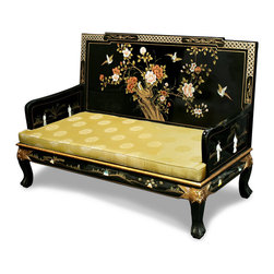 "China Furniture and Arts - Hand Painted Grand Imperial Love Seat - The majestic presence of this sofa is further accentuated with mother of pearl figures and a hand painted floral design that decorates the entire sofa. The curved legs ending on the tiger-paw feet give a graceful and sturdy look. Multiple layers of black lacquer finish were applied to ensure a shiny and sleek look. Not only is this sofa pleasant to look upon, but it also includes a silk cushion for added comfort and visual appeal. The gold longevity design silk cushion measures 55""W X 24""D X 37""H and fits the sofa perfectly. The height from floor to seat is 12.5""H."