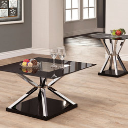Coaster - 702637 2 Pcs Occassional Table Set - Add a modern touch to your room with this occasional group. Featuring black framed glass tops with a dual pyramid shaped base in nickel.
