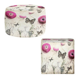 DiaNoche Designs - Vintage Butterfly Ottoman - Lightweight, artistic, bean bag style ottomans. Coming in 2 square sizes and 1 round, you now have a unique place put rest your legs or tush after a long day. Artist print on all sides. Dye Sublimation printing adheres the ink to the material for long life and durability. Printed top, khaki colored bottom. Machine washable. Product may vary slightly from image.