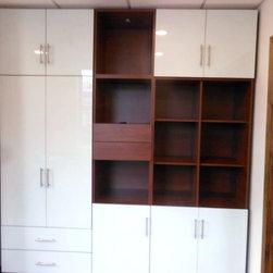 Custom Wardrobe / Bookcase - Custom wardrobe with multiple door & drawer sizes, cube shelving.