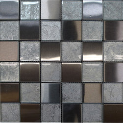W30 Mix Material Tiles - Aqua Glass Stainless Stell Mosaic