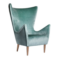 "Emporium Home - Emporium Home Mona Chair - Vintage influence marks the Mona chair's compelling and unique design. Accenting tapered legs and dramatic arms, the seat's luxurious velvet upholstery delivers refined elegance. 34""W x 34""D x 45""H; Available in several upholstery, nailhead trim and wood finish options"
