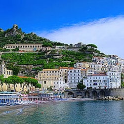 Magic Murals - Amalfi Coast Italy Panorama Wall Mural -- Self-Adhesive Wallpaper by MagicMurals - Amalfi, not far from Naples, is a coastal town built into the cliffs and beach side in the province of Salerno, in the region of Campania, Italy, on the Gulf of Salerno in the Mediterranean Sea.  It is a UNESCO World Heritage site.  This panoramic image shows the town, the apartment homes built into the cliff side, the beach and the fortress upon which the town has been built.