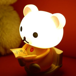 Decorative Kids USB Night Light Cartoon Bear - Push the closestool button for high light,which can illuminate for 4hrs when it is full charged . Push again the button for weak light.,which can illuminate for 18hrs when it is full charged .