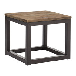 "Zuo - Zuo Civic Center Distressed Wood Side Table - Industrial style side table. Distressed solid elm wood. Long and thick elm wood planks are fused together to create the authentic top. Antiqued metal base and accents. A chic addition to your home from Zuo Modern. 19 3/4"" wide. 19 3/4"" deep. 17 3/4"" high. Some assembly required.  Industrial style side table.  Distressed solid elm wood.  Long and thick elm wood planks are fused together to create the authentic top.  Antiqued metal base and accents.  A chic addition to your home from Zuo Modern.  19 3/4"" wide.  19 3/4"" deep.  17 3/4"" high.  Some assembly required."