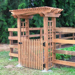 Fences - 4-Rail with Black Woven Wire and Arbor with Gate