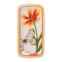 Fitz and Floyd - Fitz and Floyd Flower Market Elongated Tray - 29-939 - Shop for Trays from Hayneedle.com! A sepia brown butterfly flits past a richly colored parrot tulip in the exquisitely detailed design of the Fitz and Floyd Flower Market Elongated Tray. This hand-painted earthenware tray features a detailed pattern of artisan-pressed floral surface textures with colors of Naples yellow and Sunset red that enrich its Italian rustic charm.About Fitz and FloydFitz and Floyd is recognized worldwide as a leader amongst the style- and quality-conscious. For 50 years their unique designs have made them the leader in the purveyor of hand-painted ceramic dinnerware tableware accessories giftware and collectibles. All Fitz and Floyd pieces are easy to spot. Each piece is distinctively hand-crafted by artisans from the drawing board to the sculpting wheel and kiln.The company's Dallas-based studios are renowned for producing over 500 unique designs per year. Creations range from presidential dinnerware for the White House or a tea service for Her Majesty Queen Elizabeth II to the perfect centerpiece for your table and each design is lovingly crafted in the highest quality. Meticulous craftsmanship and exquisite detail make every Fitz and Floyd piece a treasured heirloom-quality gift.