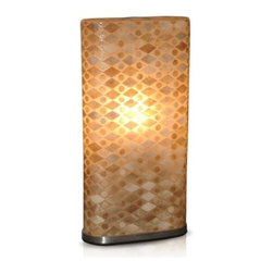 Jeffan Griffen Table Lamp - The Jeffan Griffen Table Lamp is quite a contemporary catch. Crafted with a durable stainless steel base, this oblong table fixture's natural-tone shade is patterned with a delicate fishscale motif. Requires two standard 60W bulbs (not included).About Jeffan InternationalJeffan International is the North American division of a 20-year-old family-owned company based in Indonesia. They design, manufacture, and market a broad line of home furnishings, including indoor/outdoor furniture, lighting, and decorative home accents. Jeffan's mission is to bring Indonesia's amazing craftsmanship and design capabilities to the rest of the world. Known for excellent customer service and superior quality, Jeffan offers whatever you need to give your home that extra-special touch.