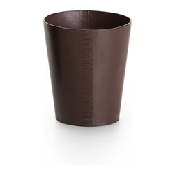 WS Bath Collections - Korame 7003 Waste Basket in Brown - Korame by WS Bath Collections Paper Basket in Hand Crafted Leather in Brown